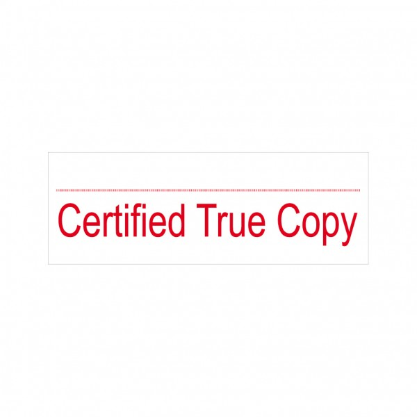Certified True Copy Stock Stamp 4911/9 38x14mm